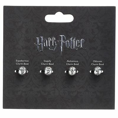Harry Potter - Spell Bead Charms - Set of 4 - Silver Plated