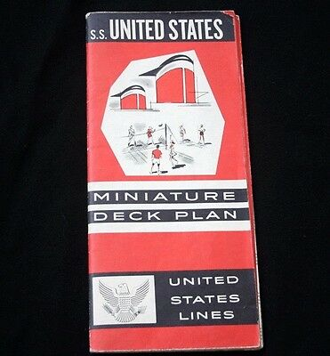 UNITED STATES LINES SS UNITED STATES Miniature Deck Plan 64
