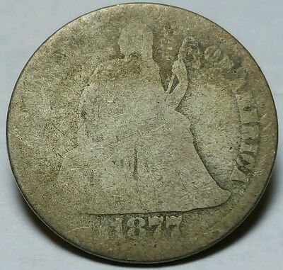 1877 United States Silver Seated Liberty Dime - AG