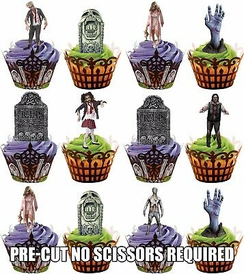PRE-CUT Zombie & Tombstone Edible Cupcake Toppers Decorations Halloween Party