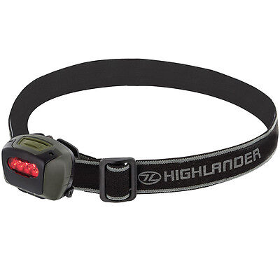 Highlander Mira Headlamp 4 White Led & Red Filter Camping Fishing Work Headlight