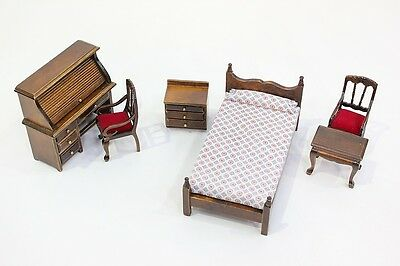 NEW 6 Piece Dolls House Dark Oak Bedroom Furniture Set 1/12th Scale - Free P&P