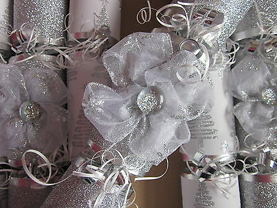 Luxury Silver Bow And White & Silver Christmas Tree Crackers Handmade