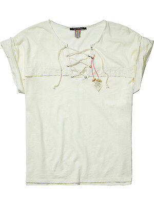 6397b5e337dfbd MAISON SCOTCH 131314 Fringed Embroidered Gypsy Top Off White P