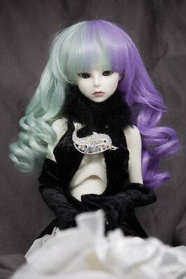 Doll Wig Curly w/ Pig Tails Mint Green Purple BJD Ball Jointed Doll Size 6-7 8-9