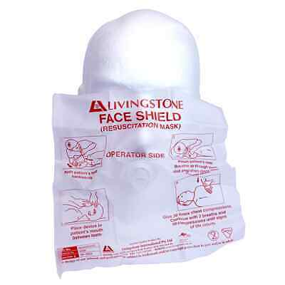 3 x Resuscitation Barrier Face Shield Latex Free Each in Sealed Polybag