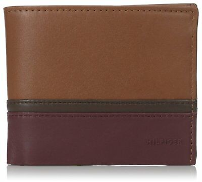 Tommy Hilfiger Men's Leather Double Billfold Wallet Saddle Chocolate Oxblood 31T