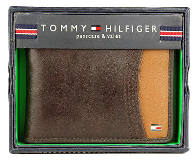 New Tommy Hilfiger Men's Leather Double Billfold Wallet Brown 31Tl220014