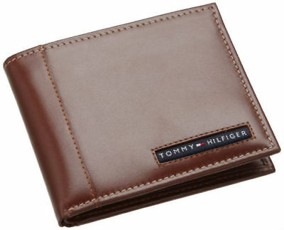 Tommy Hilfiger Men's Leather Bifold Classic Leather Wallet Tan 5675-04