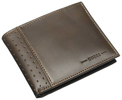 New Guess Men's Leather Credit Card Wallet Id Passcase Billfold Brown 31Gu22X035