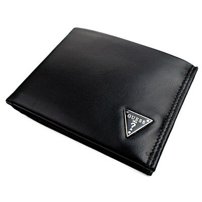 New Guess Men's Leather Credit Card Id Wallet Passcase Bifold Black 0964-01