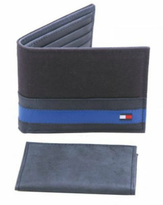 Tommy Hilfiger Men's Leather And Canvas Bifold Wallet Black And Blue 4896-01