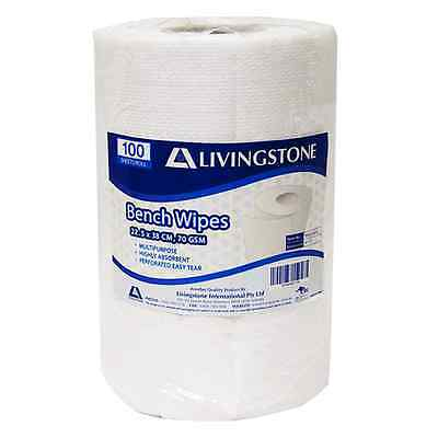 Livingstone Bench Wipes, 22.5 x 38cm, 70gsm, 3.3mm-thick, perforated