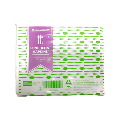 2 X Liv Lunch Napkins Serviette 30X30cm 1Ply White 500/Pk