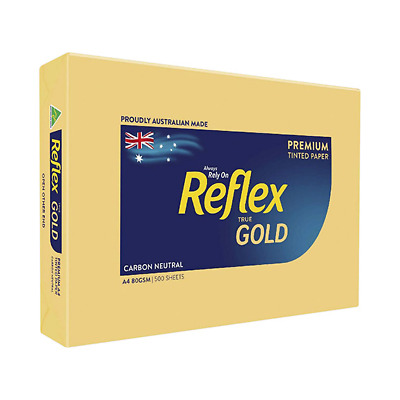 2 x Reflex Colours Paper A4 Gold 80 grams per square metre 500 Sheets per Ream