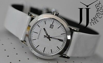 New Burberry Lady Watch White Nova Check Dial Signature Slim Leather Bu1797