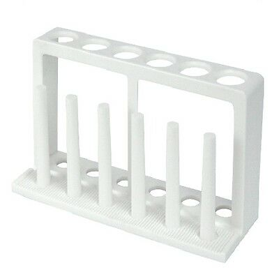 2 x Test Tube Rack, Polypropylene, 6 holes 19mm Diameter with 6 pegs