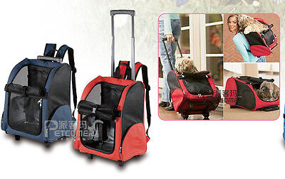 Travel Pet Carrier Dog Cat Rolling BackPack  Airline Wheel Luggage Bag Red US