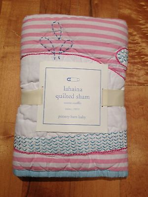New Pottery Barn Kids Girls Lahaina Surf Whale Quilted Crib Sham Toddler Nursery