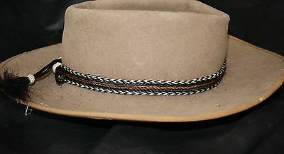 Hand Braided Horsehair Hat Band with Black White with Brown Stripe NEW