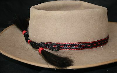 Hand Braided Horsehair Hat Band Red & Black - Adjustable - NEW