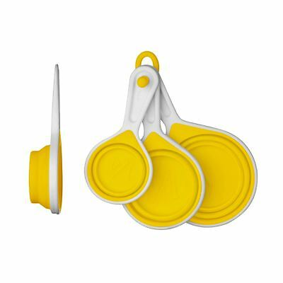 Zing Measuring Cups, Yellow Silicone/White PP, Set of 4/Collapsible