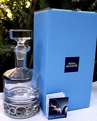 CLEARANCE!! New ROYAL SELANGOR Crystal & Pewter CHATEAU WHISKEY DECANTER BOXED