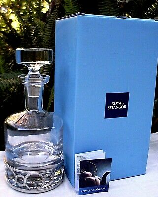 New ROYAL SELANGOR Crystal & Pewter CHATEAU WHISKEY DECANTER BOXED Collectable