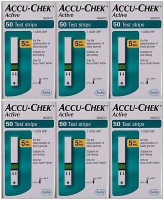 Accu Chek Active 6boxes x 50 total 300  Glucose Blood Test Strips Jan-2018