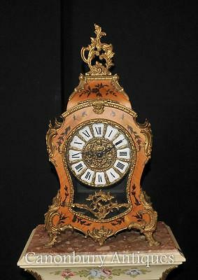 French Antique Louis XVI Mantle Clock Marqeutry Inlay