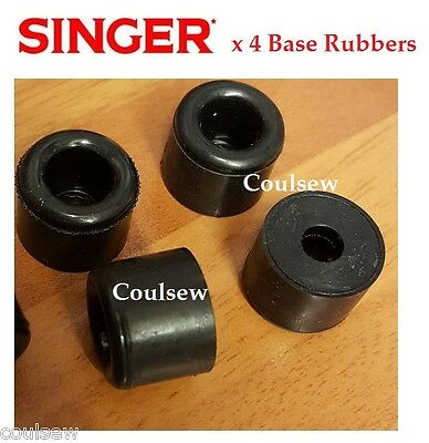 4 SINGER SEWING MACHINE BASE RUBBERS BOTTOM FEET BED 401 403 404 500 503 etc