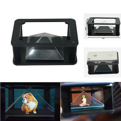 """Pyramid Mirror Reflective Holographic Projector 3D Video Toy for 3.5~6"""" Phone m3"""