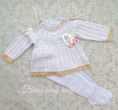 Spanish Baby Boys Knitted Baby Grow Romper 2 Piece Outfit Set 0-3 Months Romany