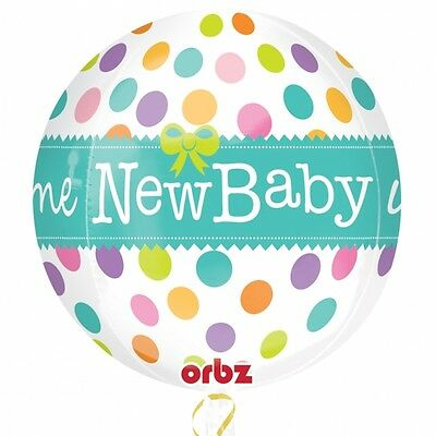 "Boy Girl Neutral Welcome New Baby Shower Party Polka Dot 16"" Orbz Foil Balloon"
