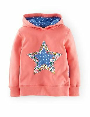 New Mini Boden Girls Pink Star & Floral Applique Hoodie RRP £34 Sizes 2 - 11/12