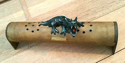 Black Dragon incense burner, Chinese Dragon on Bamboo Wood Box ash catcher