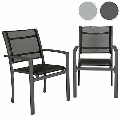 Set of 2 Metal garden chairs outdoor camping patio furniture mesh