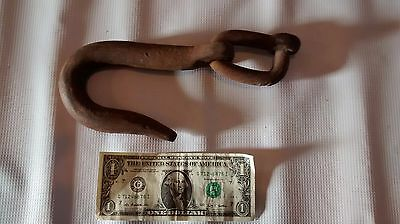 "Antique Vintage Forged Black Smith Iron Log Chain Hook 7"" Long Link Steam Punk"
