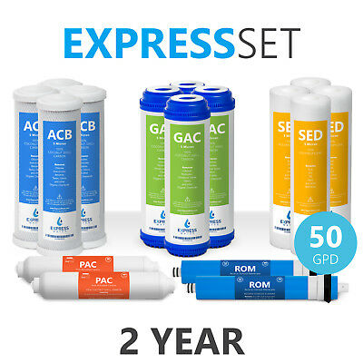 2-Year 5-Stage Reverse Osmosis Replacement Kit 16 Total Filters 50 GPD Membrane