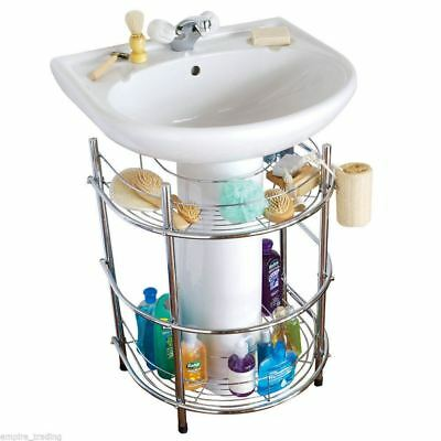 New Boxed Chrome Under Sink Storage Caddy Toiletry Towel  Unit   Rail