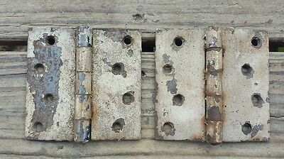 "Vtg Door Hinge 4"" Chippy Paint Rustic Restoration Repurpose Salvage Match Set"