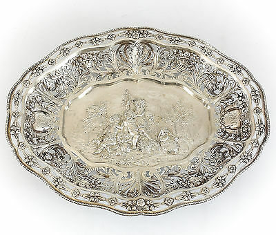George Roth German Hanau Silver Figural Pierced Footed Presentation Tray, c1900