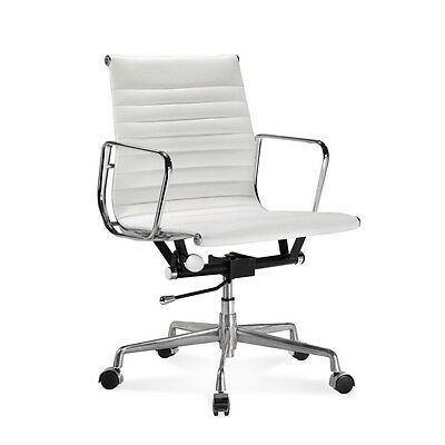 Mid Century Design Back White Ribbed Genuine Leather Conference Office Chair