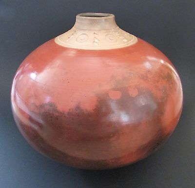 Large Mary Lavey Raku Pot Terra Cotta With Raw Etched Top 1997