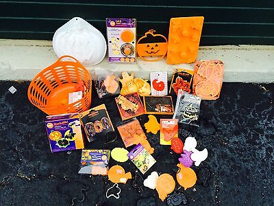 Collection of Halloween and Fall decorations, cookie cutters, & items S#D12