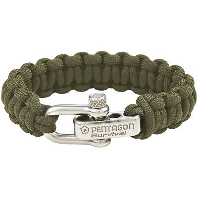Pentagon Survival Bracelet Tactical Army Hiking Paracord Wrist Band Olive Green