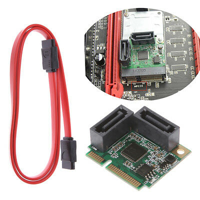 Mini PCI-Express PCIe to 2 Ports SATA 3.0 III 6Gb/s Expansion Card Single Chip