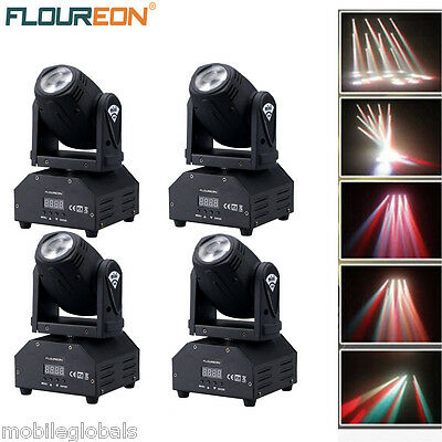 4x 10W LED Mini Moving Head Beam Light RGBW DMX512 Disco DJ Stage Party Lighting