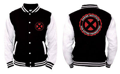 X-Men Xavier Institute Black / Bianco Jacket College Unisex Size Größe XL