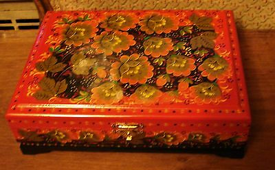 "USSR Russian red lacquer hinged box, signed. Rare coral bellflowers. 9""x7""x3"""